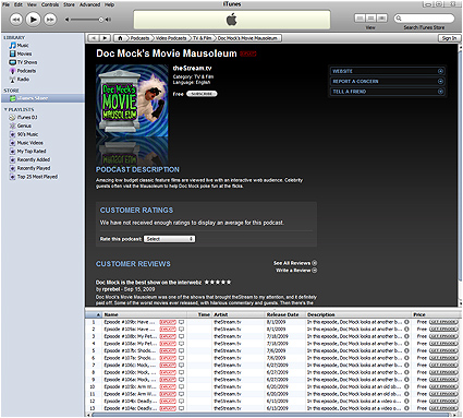 Doc Mock's Movie Mausoleum episodes now available for free download on iTunes!!!